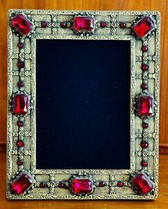 Antique Red Jeweled/Gilded Bronze Picture Frame 8x10