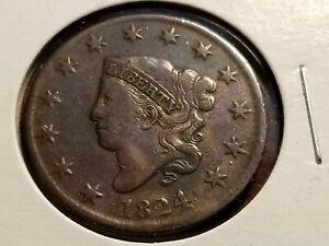 1824 Coronet Head Large Cent, full date & liberty    INV11     P1124