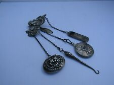 Antique Victorian Sterling Silver Cherub/Rose Chatelaine w/4 Hanging Tools