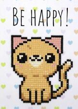 5D Diamond Painting Card Kit - Wizardi - Be Happy! Cat Card - Square Rhinestones