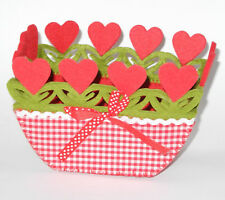 Osterkörbchen Osternest Körbchen Filz mit Herzen ---- 5 Stück -------