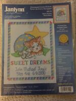 Janlynn Stamped Cross Stitch #56-129 SWEET DREAMS Baby Announcement kitty mouse