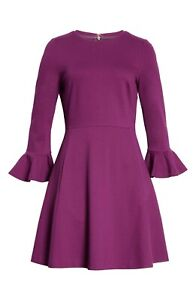 NWT Kate Spade Bell Sleeve Ponte in Wisteria Garden Purple Fit & Flare Dress XL