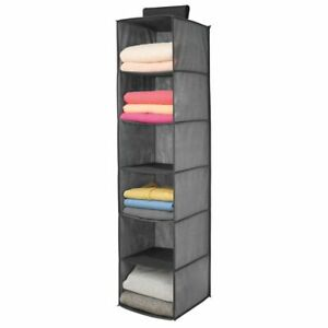 mDesign Long Fabric Over Closet Rod Hanging Organizer - 6 Shelves - Dark Gray