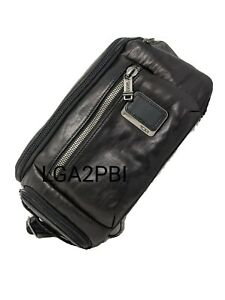 New Tumi Alpha Bravo Black Leather Kelley Sling - Black Leather - 932399DL