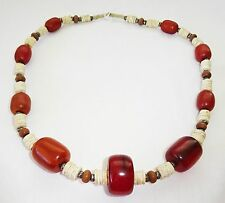 Vintage African Clam Shell Disk & Reconstituted Amber Bead Necklace (TDG)
