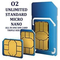 o2 Sim Card Standard sim Micro sim  Nano sim all in one card NEW SEALED