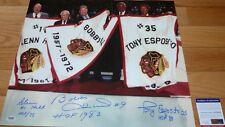 PSA/DNA BOBBY HULL-TONY ESPOSITO-GLENN HALL AUTOGRAPHED BLACKHAWKS 16X20 PHOTO 5