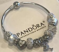 Authentic Pandora Bracelet Sterling Silver With Sparkling WINE Charms White