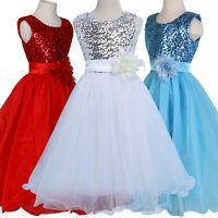 Sequins Flower Girls Princess Pageant Dress Wedding Bridesmaid Party Communion