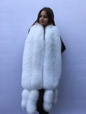 Extra Big Double-Sided Arctic Fox Fur Stole 78' (200cm) Four Tails as Wristbands