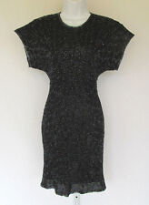 VINTAGE 1970s 80s LAURENCE KAZAR SILK BEADED DRESS SIZE PP BLACK MADE IN INDIA