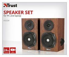 TRUST 21759 VIGOR WOOD TIMBER LOOK USB POWERED 2.0 SPEAKER SET FOR PC & LAPTOP