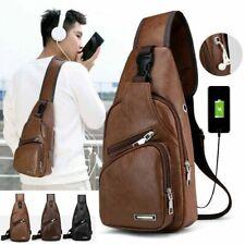 New Men's Shoulder Bag Sling Chest Pack USB Charging Sports Crossbody Handbag US