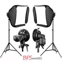 2x 60cm Portable Studio Soft Flash Speedlite Softbox for Speedlight + 2m Stand