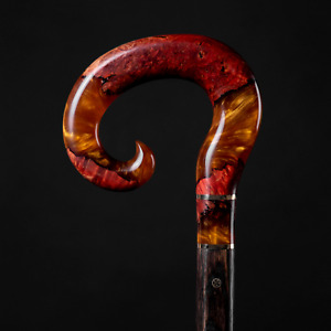 Red Mountain Walking Stick - Unique Epoxy Resin Handle Cane for Gift