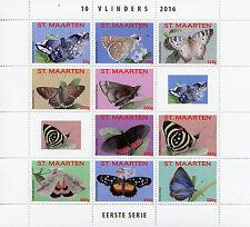 St Maarten 2016 MNH Butterflies 10v M/S Insects Butterfly