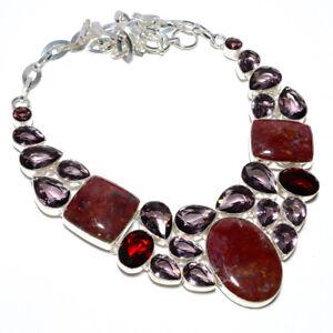 "Red Jasper & Amethyst- Handmade Gemstone 925 Silver Necklace 17.99"" N1326-33"