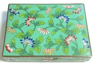 RARE LARGE CHINESE CLOISONNE GREEN ENAMEL FLORAL BLOSSOMS HUMIDOR JAR BOX