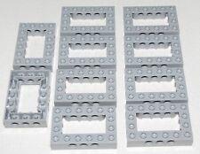 Lego Lot of 10 New Light Bluish Gray Technic Bricks 4 x 6 Open Center Parts