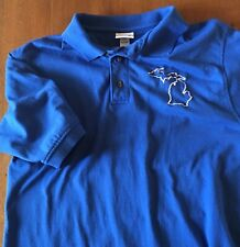 Mens Anvil Royal Blue Michigan Map Embroidery Cotton Polo Shirt, S