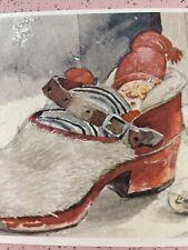 Vtg Christmas Card UNUSED Santa Elf Sleeping in Shoe Trygve M Davidsen Caspari