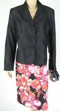 Evan Picone Black Floral Skirt Suit Flower Pin Size 14 New 8851