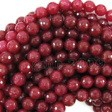 """8mm Natural Faceted Brazil Red Ruby Gemstone Round Loose Beads 15""""AAA"""