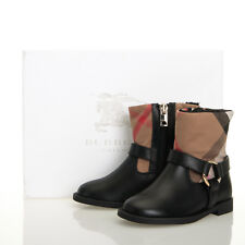 Burberry Queenstead Black Leather Check Boots - Size 7.5 US Toddler (24 EU)