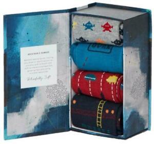 LUXURY MENS GIFT BOXED SOCKS RETRO ARCADE COTTON SOCKS 4 PAIRS MENS UK 7-11