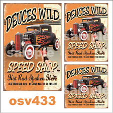 WEATHERED PEEL & STICK BUILDING SIGN DECALS DEUCES SPEED SHOP  O SCALE OSV433