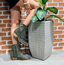 Stivali Tronchetti Da Donna Tacco Alti Camperos Texano nuovi frange nero moda