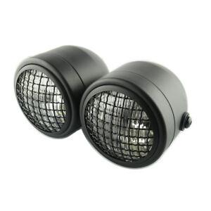 Dirt Bike Motorcycle Dual Twin H4 35W Headlights Lamps w/Mesh Grill Guard Cover