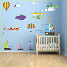 Monkey Sail Boat Wall Stickers Animal Airplane Nursery Baby Kids Room Decal Art