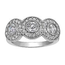 WHITE GOLD 14K DIAMOND RING PAST PRESENT FUTURE WITH BEZEL SET  .46-.58 TCW FINE