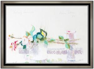 HOBSON PITTMAN Original Pastel Painting Signed Floral Still Life Framed Art oil