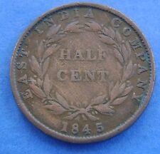 Straits Settlements 1/2 cent  half cent 1845 KM# 2