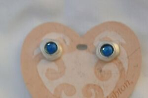 NWT Authentic Brighton Neptune Silver & Blue Cabochon Post Earrings $30