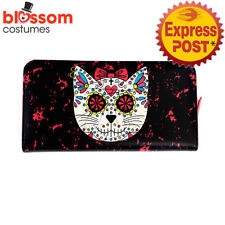 RKN43 Banned Sugar Kitty Muerto Rockabilly 50s Faux Leather Wallet Purse Gothic