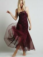 Free People Intimately After Hours Lace Maxi Dress Size Large in Purple EUC!