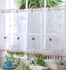 "Kitchen Voile Cafe Net Curtain Panel 32 NEW Designs 12"" 18"" 24"" Drop 1.4m wide"