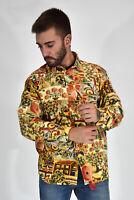 VINTAGE Camicia Shirt Fantasia Multicolore In Cotone Cotton Taglia L Uomo Man
