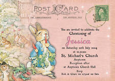 Personalised postcard peter rabbit Christening invitations Gir Baptism envelopes