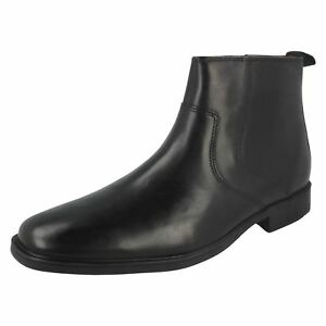 Hommes Clarks Noir Leather Cheville Bottes Tilden Zip