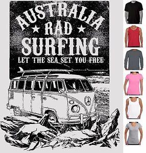 Funny T-Shirts Australia rad Surfer Men's Ladies Singlets size surfing Aussie