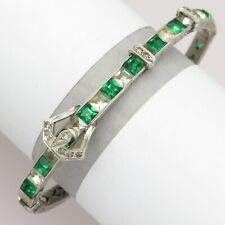 Vtg Art Deco Sterling Silver Green Paste Channel Set BUCKLE Glass Bracelet