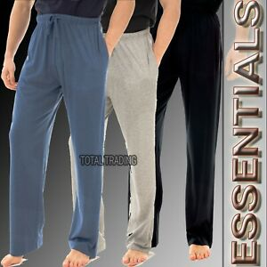Mens Pyjamas PJ Pants  Bottoms Loungewear Casual Plain Soft Jersey Nightwear