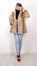 Vintage Coat 40s 50s 60s Beaver Lamb Shearling Sheepskin Leopard Tiger Size 8-12
