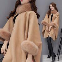 Elegant Women'S Cashmere Real Fox Fur Cloak Poncho/Coat/Wraps Winter Outwear us