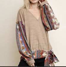 Umgee Tan Blouse with Bell Sleeves Size M